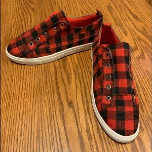 Woman's Red And Black Checkered Slip On Sneaker